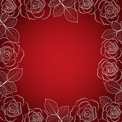 Simple floral frame in white on red background.