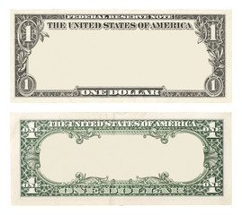 Blank front and back 1 dollar banknote isolated