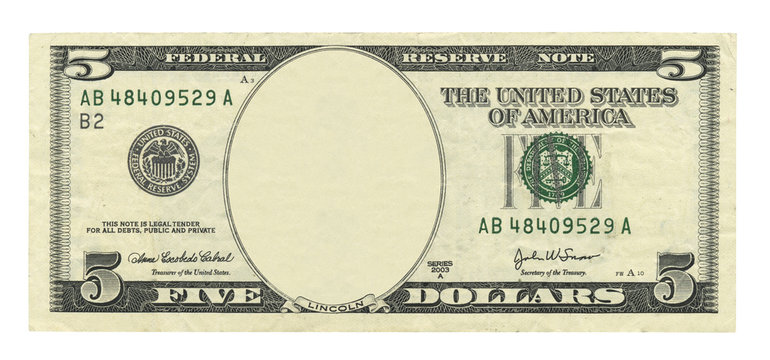 Blank 5 dollar banknote isolated on white background