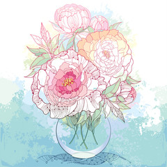 Bouquet with five ornate peony flower and leaves in the round transparent vase on the textured background with blots in pastel color. Floral elements in contour style.