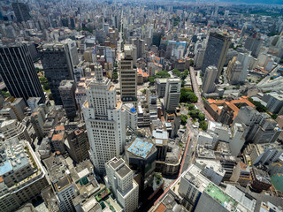 Top View of Downtown and Banespa Building in Sao Paulo, Brazil