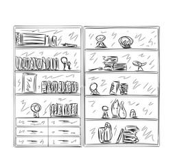 Hand drawn shelves. Furniture sketch