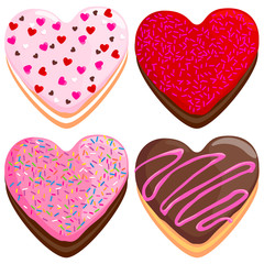 Heart shaped donuts collection.