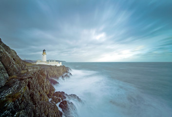 Long Exposure Storm Sea Lighthouse Cliffs