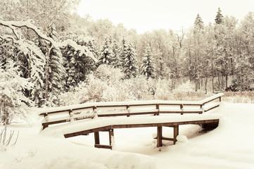 Wooden bridge in winter forest covered with soft clear snow.