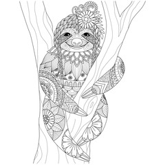 Sloth zentangle for coloring book