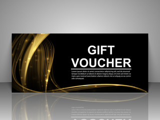 Gift voucher template. Abstract futuristic wave background