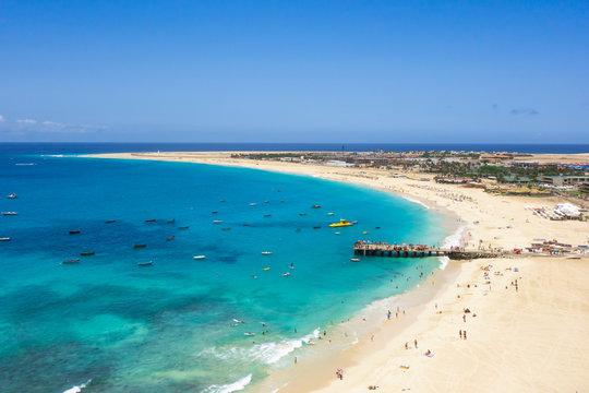 Aerial view of Santa Maria beach in Sal Island Cape Verde - Cabo