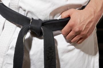 Karate stance hand and black belt