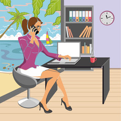 Vector illustration. Young woman with mobile phone in hand, working in the office which is located on the seafront