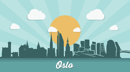 Oslo skyline - flat design
