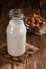 Fresh made Almond Milk (selective focus)
