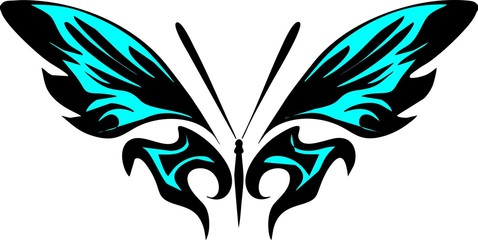 butterfly blue neon color
