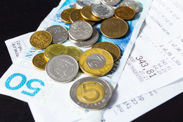 Money euro coins and banknotes background