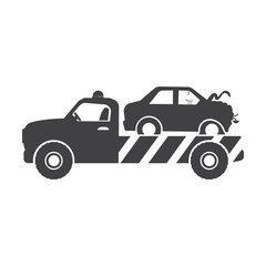 tow truck black simple icon on white background for web