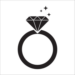 diamond ring black icon