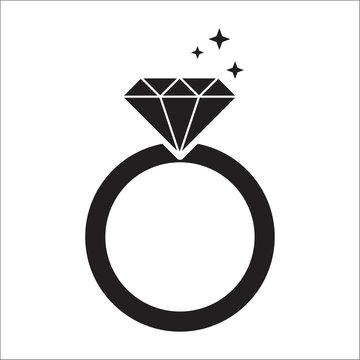 diamond ring black icon