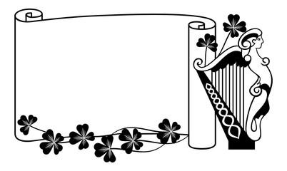 Paper scroll background and irish harp