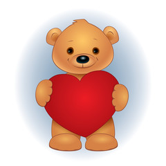 Vector illustration of a cute brown teddy bear standing and holding red heart. Square format.