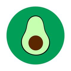 Healthy Green Avocado Flat Vector Icon