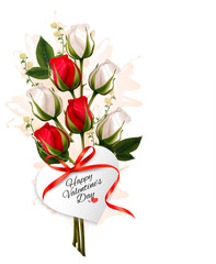 Fototapete - Bouquet of red and white roses. Valentine's background.
