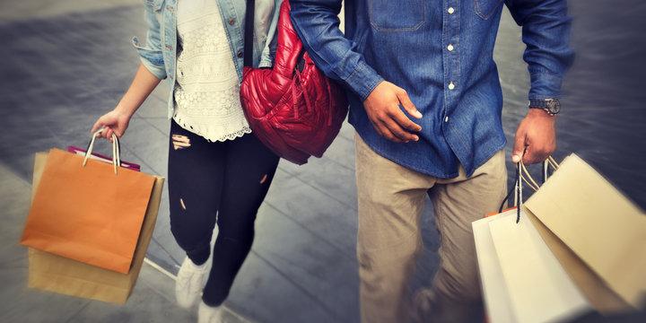 Shopping Couple Capitalism Enjoying Romance Spending Concept