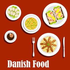 Traditional dinner of danish cuisine