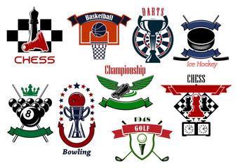 Sport games emblems and symbols for t-shirt design