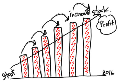 Business bar graph create in the hand drawn design and grow arro