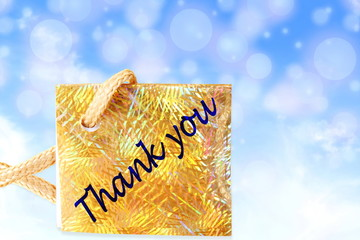 thank you letter tag or label  in blue circle sky background
