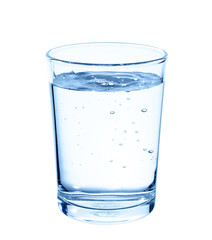 Glass with water on white background.