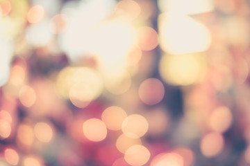 Vintage tone : Christmas holiday lights bokeh background