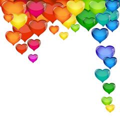 Sfondo Bianco con Cuori Multicolore-Valentine's Day