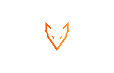 abstract fox letter V logo