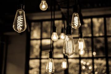 Lighting decor in restaurant for background
