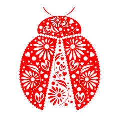 Vector illustration. Icon of decorative ornamental red ladybug, isolated over white background