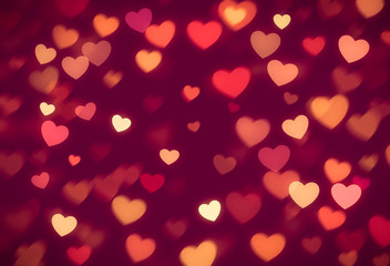 red hearts bokeh valentine day background