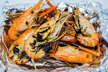 Close up of Grilled shrimp for background