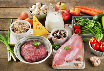 Assortment of Fresh Vegetables and Meats for Healthy Diet on rus