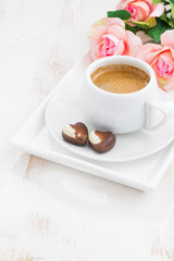 chocolate hearts and cup of espresso for Valentine's Day