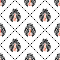 Seamless vector pattern with insects, symmetrical background with bright decorative black and red closeup ladybugs, over white backdrop. Series of Animals and Insects Seamless Patterns.