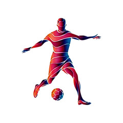 Soccer player kicks the ball. The colorful abstract illustration on white background.