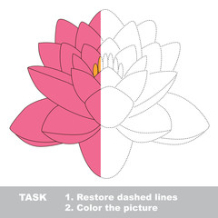 Pink lotus to be colored. Vector trace game.
