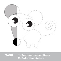 Mouse to be colored. Vector trace game.