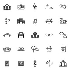 Retirement community line icons on white background