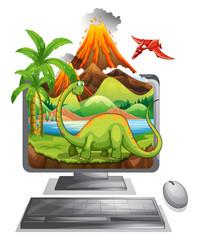 Dinosaur on computer screen