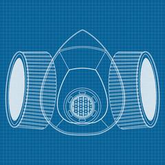 Respirator Icon. Blueprint Background.