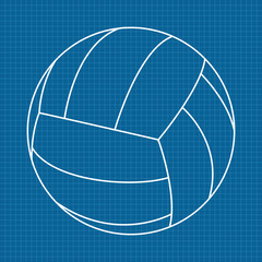 Volleyball ball.   illustration on Blueprint Background.