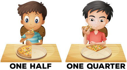Fractions one half and one quarter