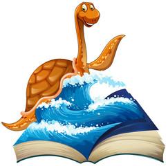 Cute dinosaur in the sea